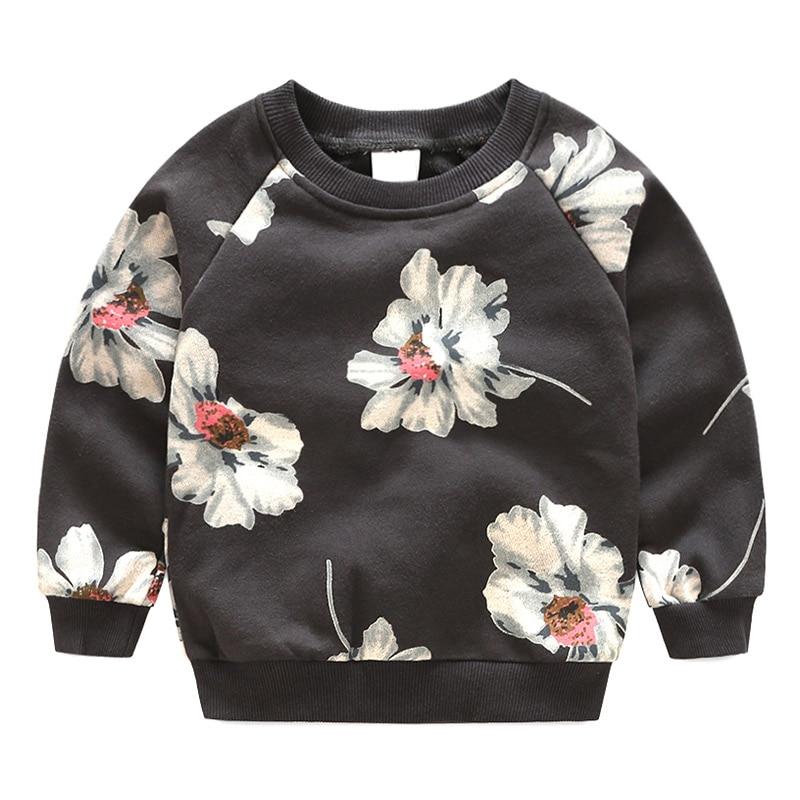 Sweatshirts Hoodies Flower-Printed Long-Sleeve Autumn Baby-Girls Kids New-Fashion Cute