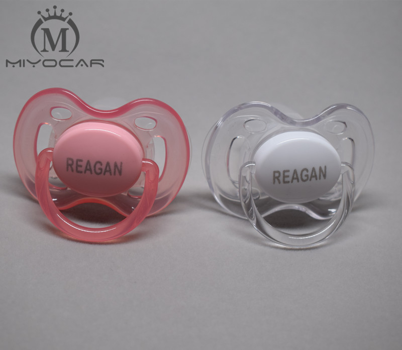MIYOCAR 2 Pcs 0-6 M Personalized Any Name Pacifiers  Engraved Pacifiers Baby Pacifier Dummy Baby Gift Custom