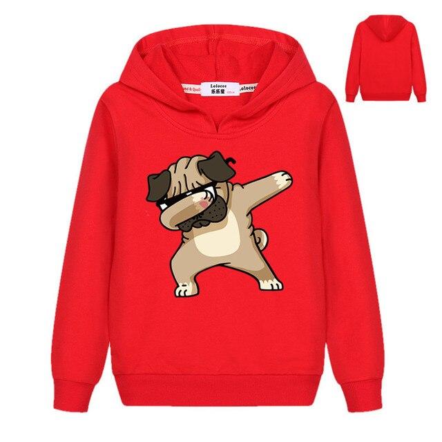 Deppen Dieren Sweatshirt Emoji Hond Gedrukt Kids Tops Voor Jongens meisjes Pullover Genieten Pugs Hoodies Hiphop Basic Coat 2019 lente