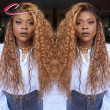 Ombre Blonde Full Lace Human Hair Wigs Density 130% Curly Brazilian Virgin Hair Dark Roots Two Tone Ombre Blonde Lace Front Wigs