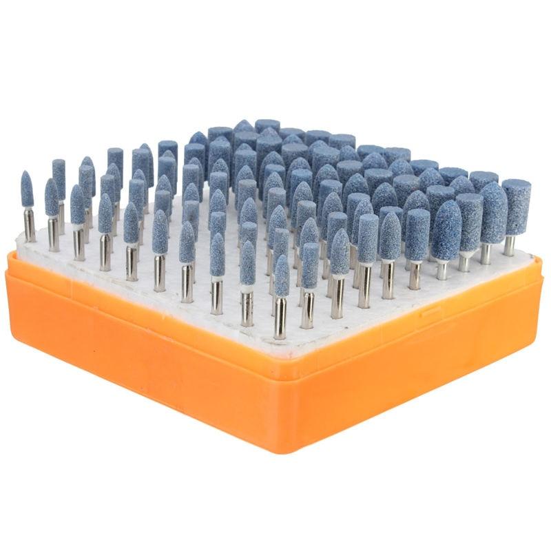 100 pz Abrasivo Pietra Montata Punto Rettifica Testa Ruota Per Dremel Rotary Strumento DIY