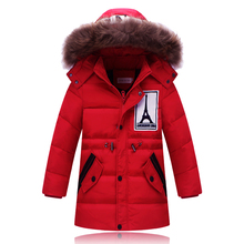 Best 2016 Boys Winter Down Parka Kids Outerwear With Fur Hooded Coat For Boys Down Jackets Children Infantil Outerwear