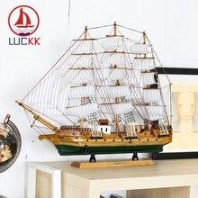 LUCKK 60CM Handmade Retro Wooden Model Ship Home Interior Decoration Living Room Wood Craft Nautical Sea Ornaments Accessories