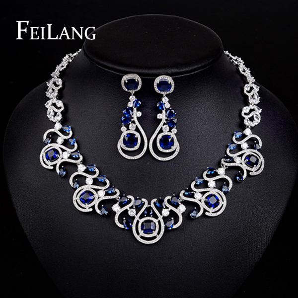 Feilang Luxury Design Navy Cubic Zircon Diamond Necklace And White