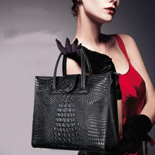 Fashion luxury Crocodile Pattern Women's real Leather Handbag Genuine Leather ladies Shoulder Bag OL bussiness Bag