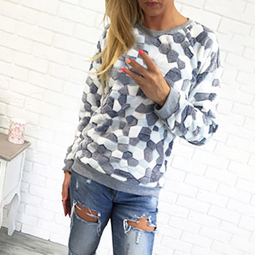 On sale 2019 autumn winter Women Knitted O-Neck Sweater Stone Printed Soft Jumper Plush top Slim Femme Elasticity Pullovers