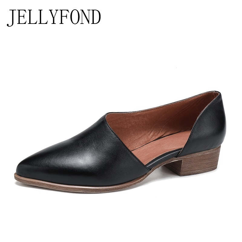 Vintage Style 2018 Handmade Real Leather Designer Casual Shoes Women  Pointed Toe Cowhide Low Heels OL Work Dress Shoes Big Size-in Women's Pumps  from Shoes ...