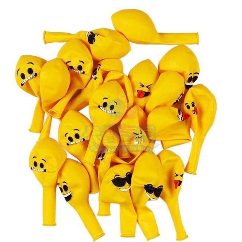 New arrival 100PCS/Lot 12 Emoji latex Balloons Smiley Face Expression Yellow Latex Ballons Birthday Party Wedding Decor globos