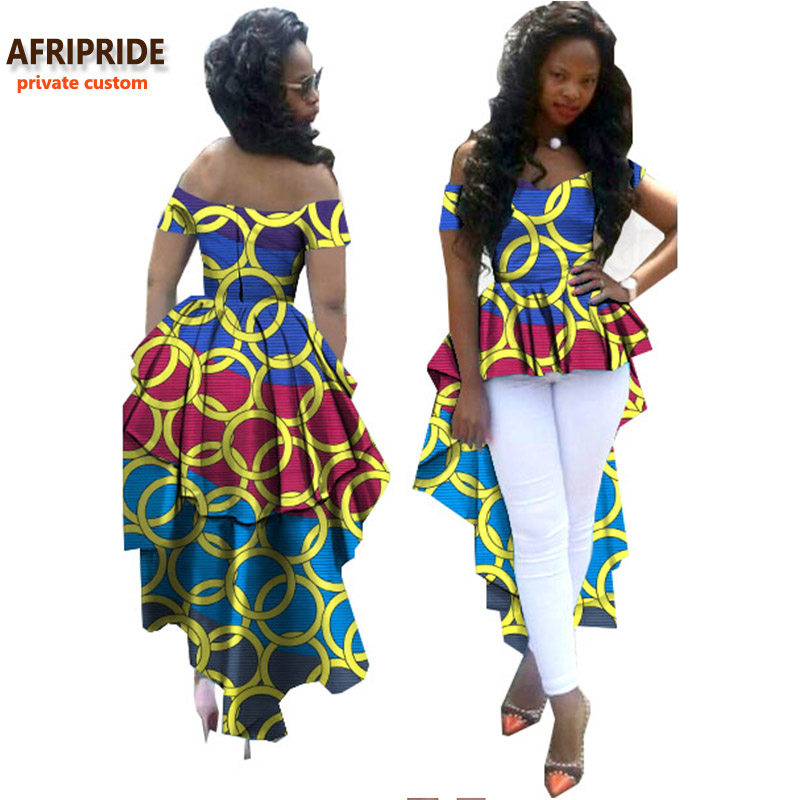 2018 african women clothes AFRIPRIDE private custom V-neck off shoulder coat with long double ankle-length back plus sizeA722412