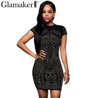 Glamaker Elegant Short Sleeve O Neck Rhinestone Women Dress Sexy Black Party Bodycon Dress Fashion Club