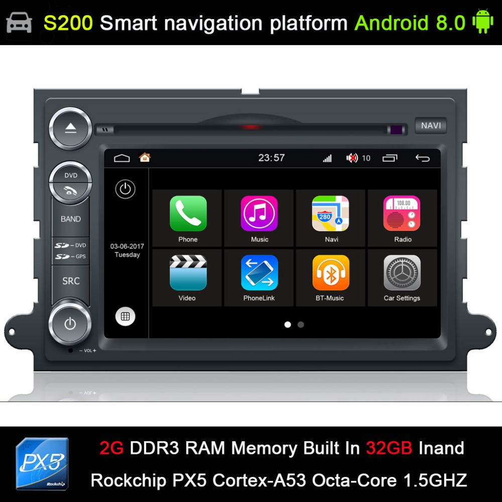 Android 8.0 system PX5 Octa 8 Core CPU 2G Ram 32GB Rom Car DVD Radio GPS Navigation for FORD EXPLORER 2006 2010/EDGE 2006 2010