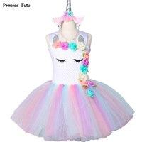 Цветок для девочек с единорогом платье-пачка пастельная Радуга принцесса девочки День рождения платье Дети Хэллоуин костюм единорога От 1 д...