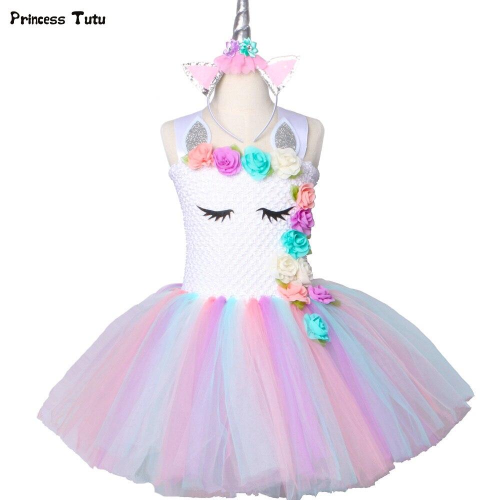Fleur Filles Licorne Tutu Robe Pastel Arc-En-Princesse Filles Fête D'anniversaire Robe Enfants Enfants Halloween Licorne Costume 1-14Y