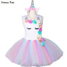 цена на Flower Girls Unicorn Tutu Dress Pastel Rainbow Princess Girls Birthday Party Dress Children Kids Halloween Unicorn Costume 1-14Y