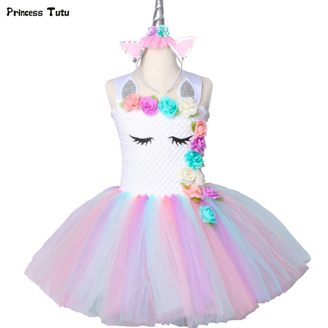 f41a1022fe Flower Girls Unicorn Tutu Dress Pastel Rainbow Princess Girls Birthday  Party Dress Children Kids Halloween Unicorn