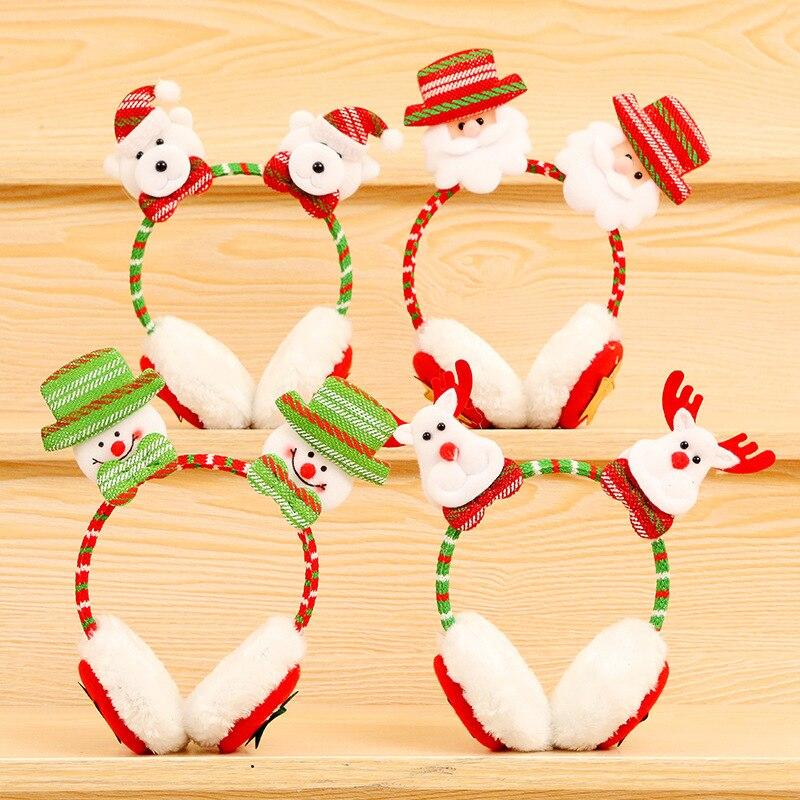 2018 New Earmuffs For Adult Children Christmas Snowman/Santa Claus Winter Warm Earmuffs Ear Christmas Gifts Fur Earmuffs 6A0397