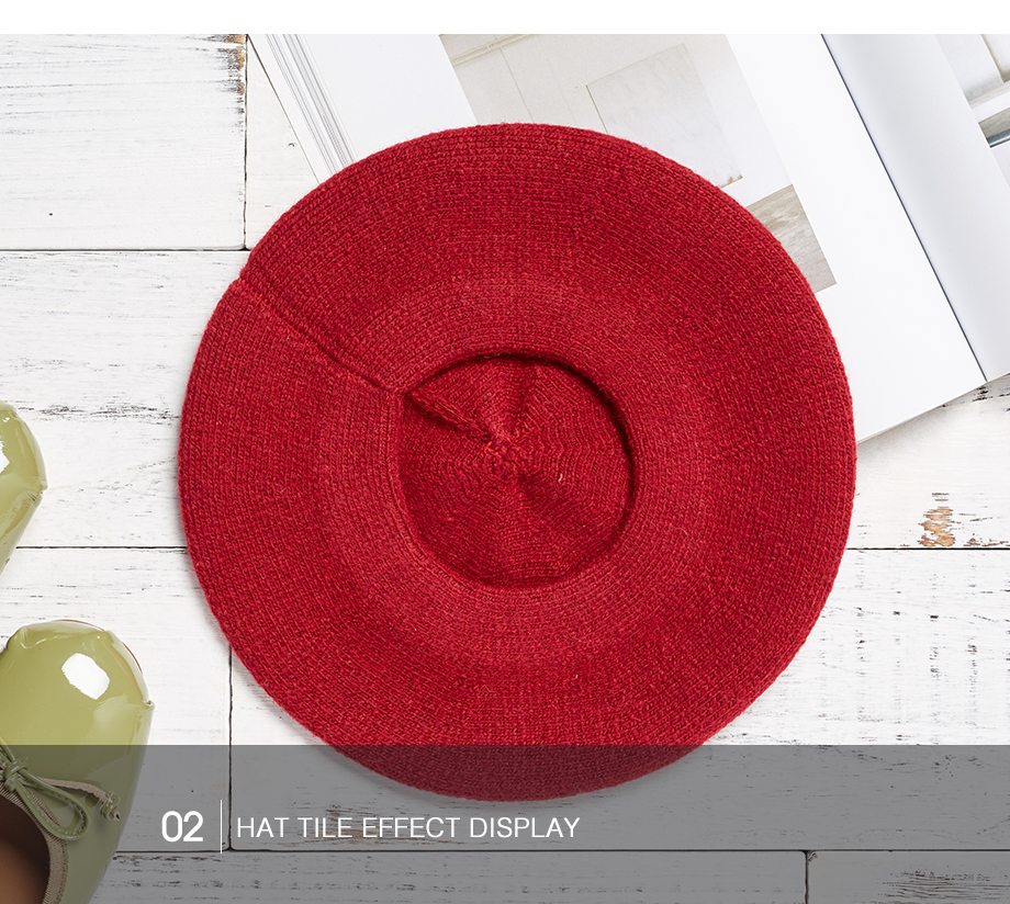 Women Beret Vogue Hat For Winter Female Knitted Warm Wool Hats Girls Cotton Cap 2018 New Brand Autumn Lady Berets Painter Hat (14)