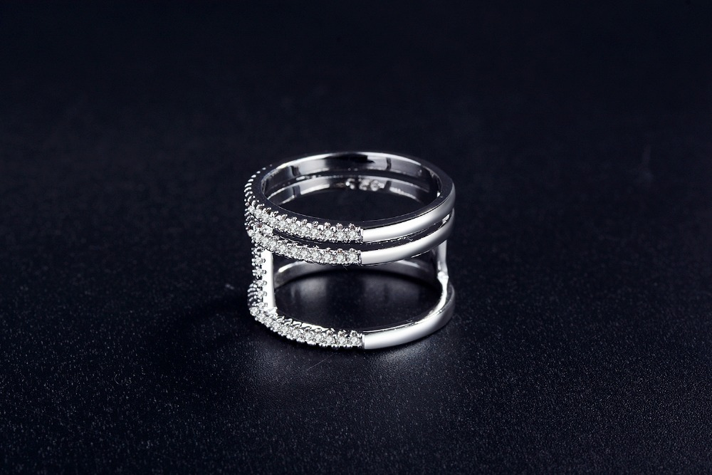 925 sterling silver Solid Real Fashion wedding band eternity Rings For Women Trendy finger Ring jewelry R4875 in Rings from Jewelry Accessories