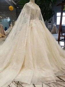 Image 4 - LS11233 elegant wedding gowns with long cape v neck sleeveless tank style v back wedding dresses ball gown платье бальное