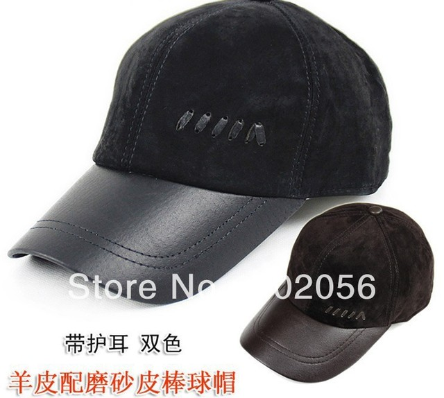 Unisex Fashion real leather Baseball CAP Ball Cap Leather hat Stylish Baseball Ball Cap hats 12pcs/lot #3106