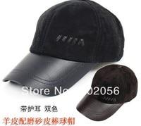 Unisex Fashion real leather Baseball CAP Ball Cap Leather hat Stylish Baseball Ball Cap hats 12pcs/lot #3106