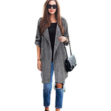 Spring Autumn Women Fashion Cardigan Slim Fit Trench Coat Casual Turn Down Collor Long Cloak Slim Overcoat Outwear Tops Oct10