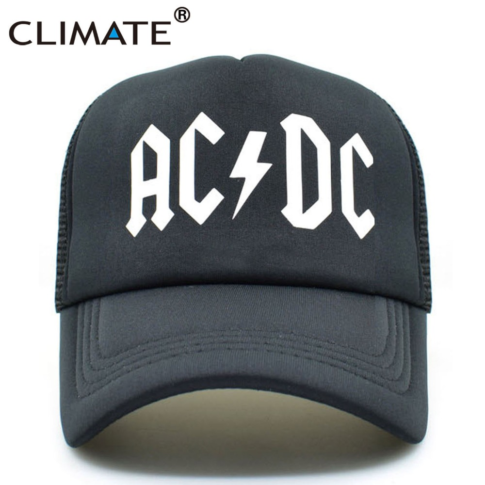 CLIMATE Men Women Cool Trucker Mesh Caps ACDC Band Rock Fans Cap AC/DC Rock Band Caps AC DC Heavy Metal Rock Music Fans Cap Hat ac dc ac dc marcus hook roll band tales of old grand daddy