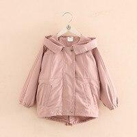 Sonbahar Kış Kız Bebek Ceket Uzun Ceket Çocuklar Palto Çocuk Rüzgarlık Dış Giyim Pembe Kış Ceketler Kız