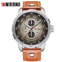 Curren Orange Leather Calendar Display 3 Dial Decoration Military Waterproof Male Clock Quartz Mens Sport Watch Top Brand Luxury