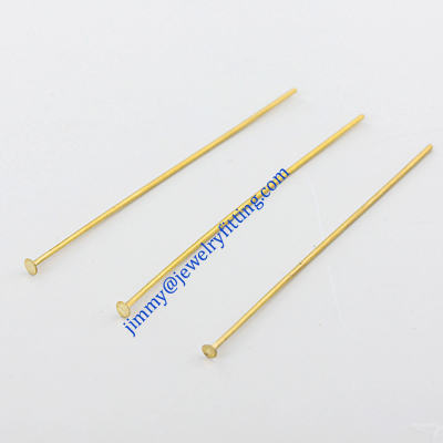 Jewelry Making findings Raw brass metal Head Pins with flat end Scarf Pins jewellry findings 0.8*50mm shipping free