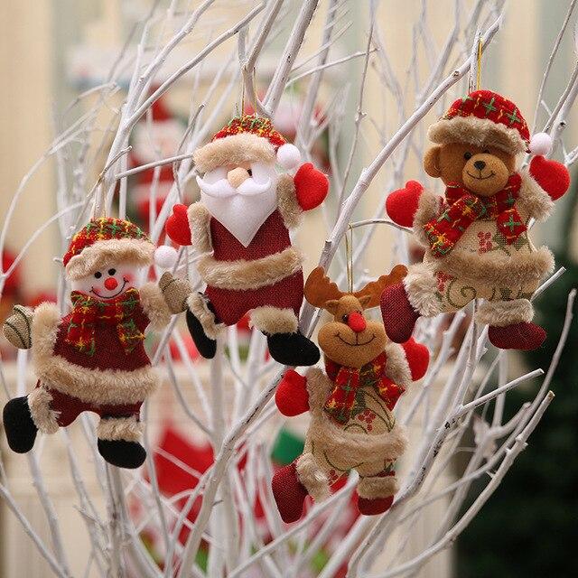 החג שמח קישוטי מתנת חג המולד סנטה קלאוס איש שלג עץ צעצוע בובת לתלות חג המולד קישוטים לבית