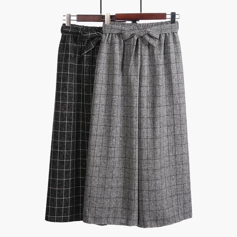 2019 Autumn New Fashion Ankle-length Wide Leg Pants Women Elegant Trousers Linen Pants Baggy Women Pants Free Shipping Summer