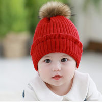 New Baby Caps Autumn Winter Knitted Wool Fur Ball Warm Children Hat Caps