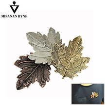 Fashion Jewelry Brooch leaf Lapel Pin Women Brooches Vintage Leaf Collar Brooches For Women chic emboss figure leaf brooch for women