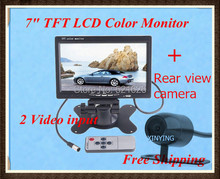 Hot sale!! 7″ TFT Color LCD with 2 Video Input Car RearView Headrest Monitor DVD VCR+HD colorful reverse camera, Free Shipping