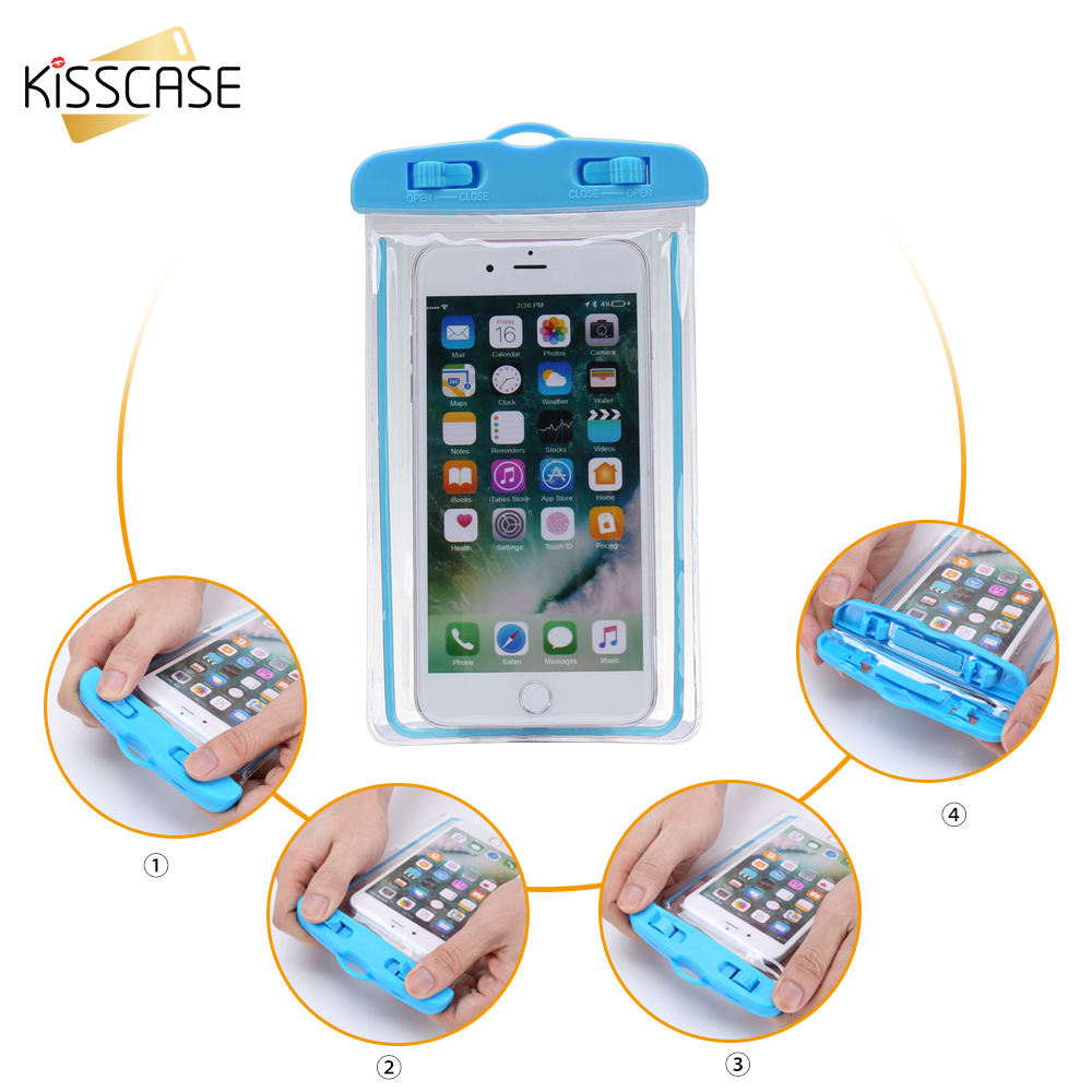 KISSCASE Luminous Waterproof Bag Case For iPhone X 6 6s 7 8 Universal Transparent Swimming Diving Cover Case For Samsung S8 S9