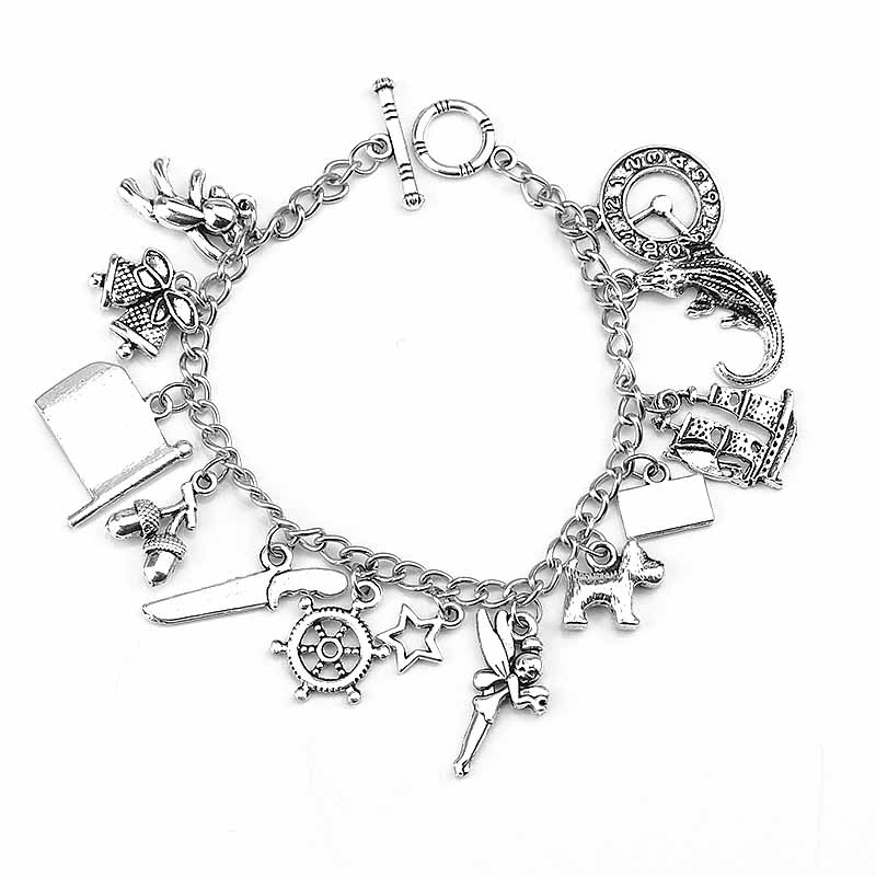 Vintage Pirates of The Caribbean Charm Bracelet Peter Pan Movie Dog Fairy Crocodile Star Boat Litter Pendant Bracelets Gift