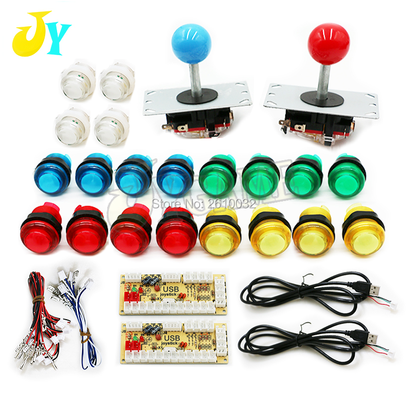 Arcade Cabinet Kit DIY 2 Players With 5V LED Buttons 8 Way Joysticks 2 USB Encoder
