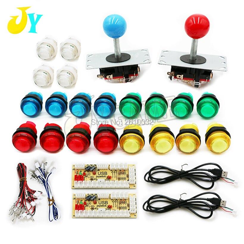 Arcade Cabinet Kit DIY 2 Players With 5V LED Buttons 8 Way Joysticks 2 USB Encoder