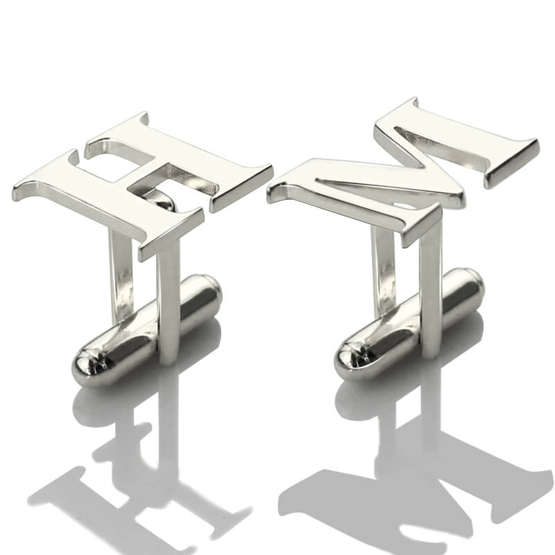 AILIN Personalized Sterling Silver Men Initial Cufflinks