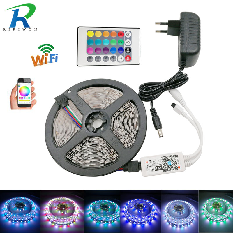 SMD 5050 60leds/m 5m 10m RGBW RGBWW RGB LED Strip Lighting LED Tape Diode ribbon Wifi Controller DC 12V Adapter LED Strip Set