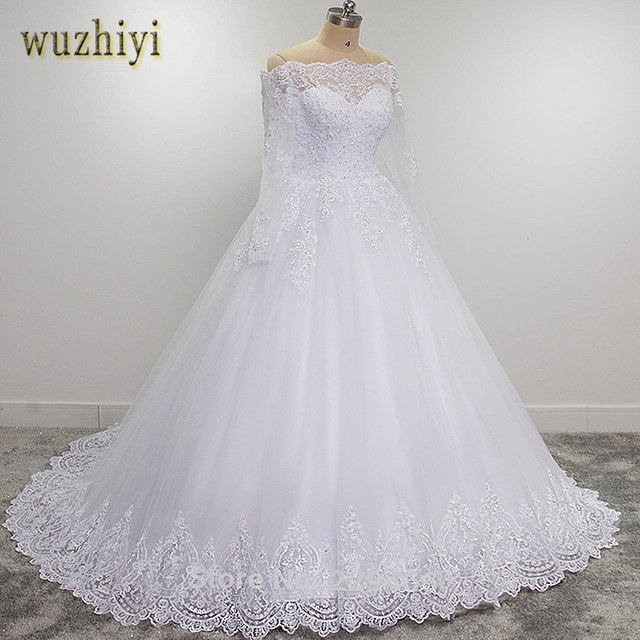Wuzhiyi Vestidos De Novia Tay Dài Chất Lượng Áo Dây De Mariee Bóng Phát Triển 2019 Casamento Ren Áo Cưới Plus Kích Thước Trouwjurk