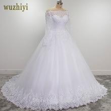 Wuzhiyi vestidos de novia uzun kollu kaliteli robe de mariee balo 2019 casamento dantel düğün elbisesi artı boyutu trouwjurk