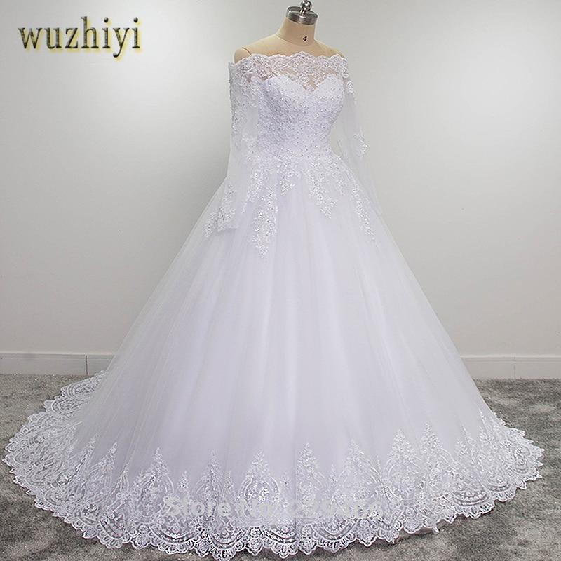 Wuzhiyi Vestidos De Novia Long Sleeves Quality Robe De Mariee Ball Grown 2019 Casamento Lace Wedding Dress Plus Size Trouwjurk
