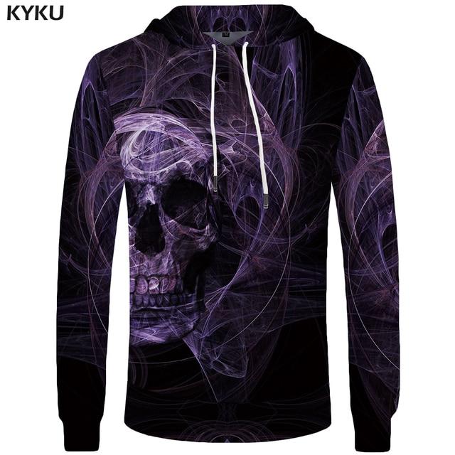 KYKU Brand Skull Hoo Men Purple Smoke Sweatshirt Gothic Funny 3d