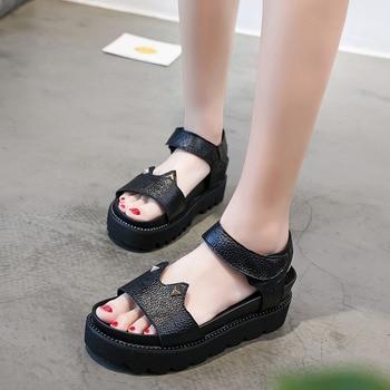 DRKANOL Mode Offener Spitze Aus Echtem Leder Sommer Plattform Sandalen Frauen Keile Ferse Sandalen Damen Nette Niet Sommer Schuhe Schwarz