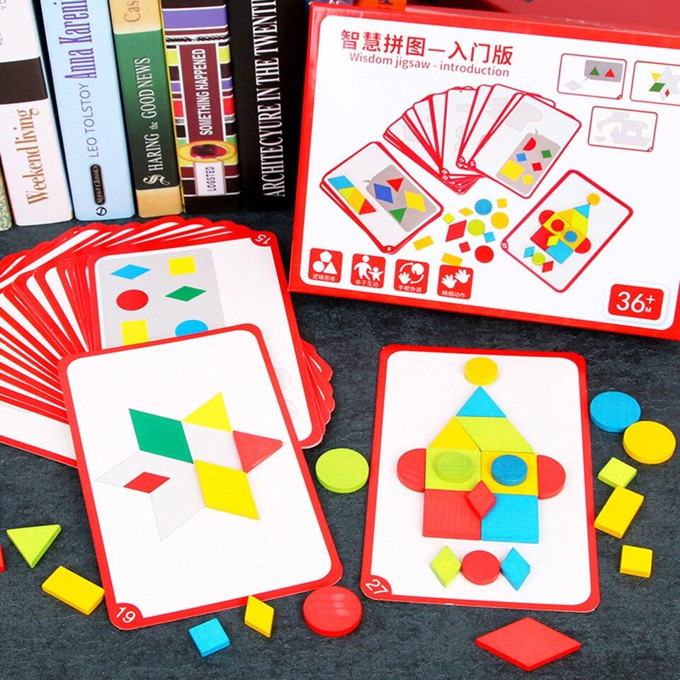 Woodentoys Puzzle jouet jeux Tangram Animal éducatif astucieux édition opération bébé jouets d'apprentissage précoce développer la sagesse