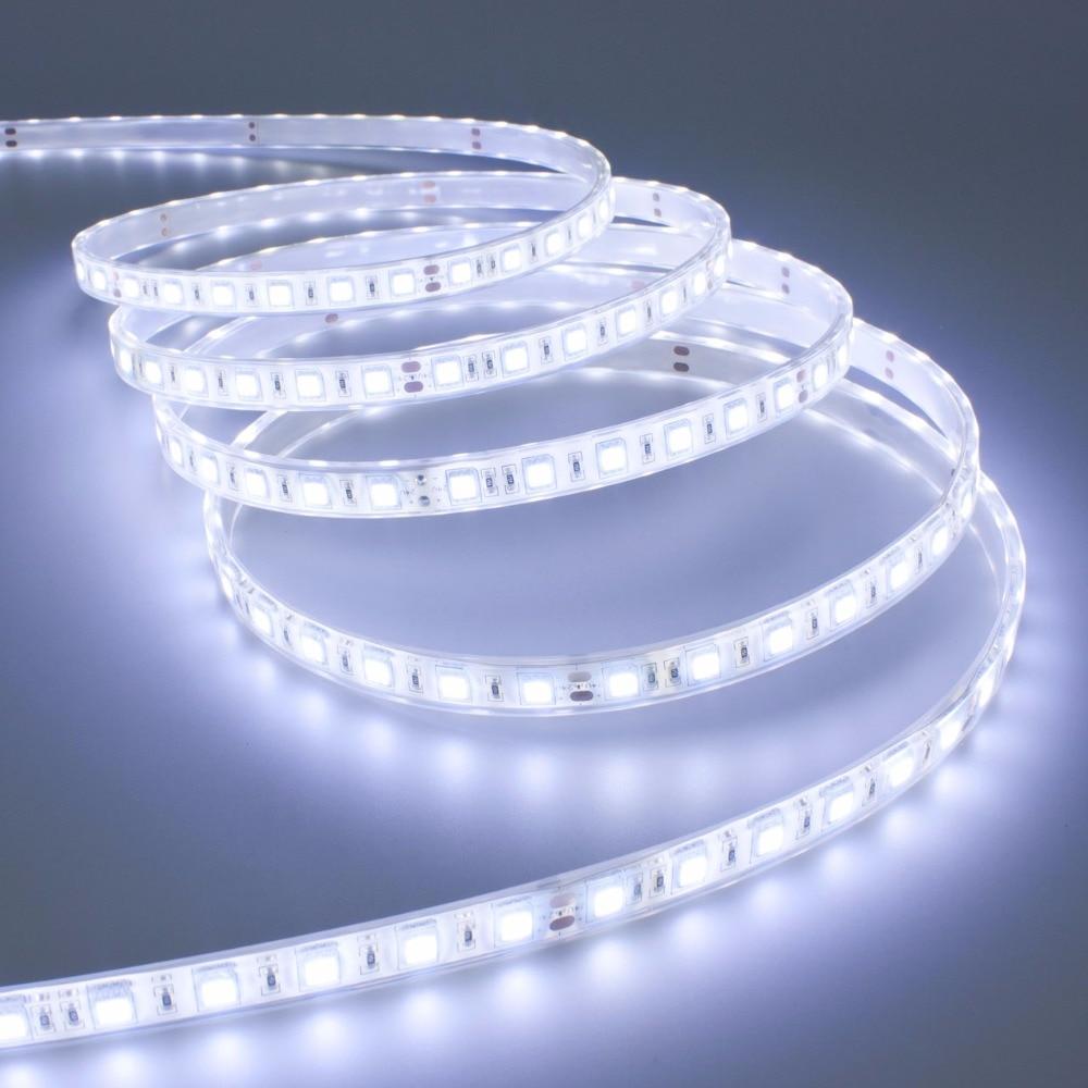 LED sloksnes gaismas 5M 2835 12V elastīgs 600Leds Super spilgts lentes balts ūdensizturīgs svītru āra mājas Gardeen apdares joslā