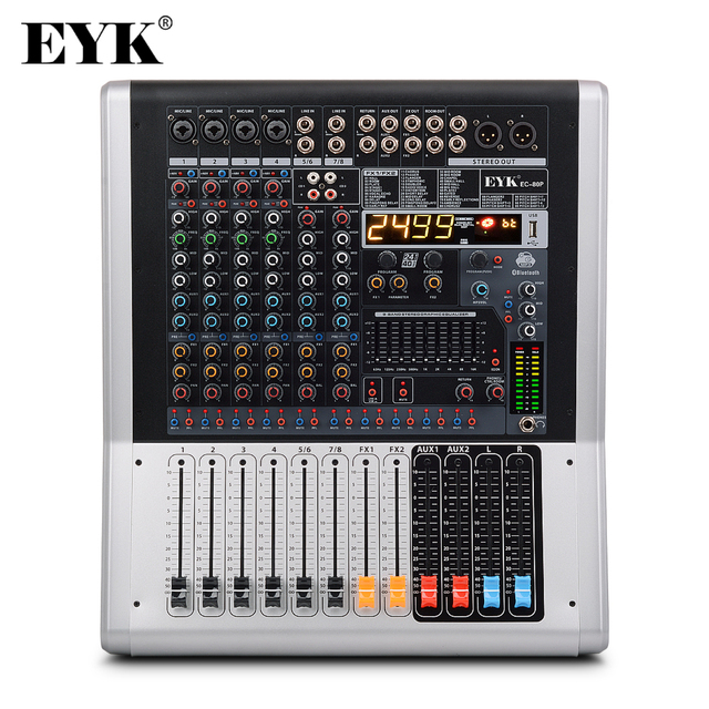 EYK EC80P 8 Channels 4 Mono,2 Stereo Powerd Audio Mixer 650W x 2 with 9 Band EQ 99DSP Dual Effects Bluetooth USB 2 AUX for Stage