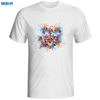 GILDAN Printed Short Sleeve T Shirt Men Tiger Art T Shirt Print Fashion Skate T Shirt